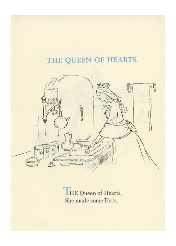 Queen Of Hearts, Baking Tarts In The Kitchen,  Antique Children Print, Alice In Wonderland