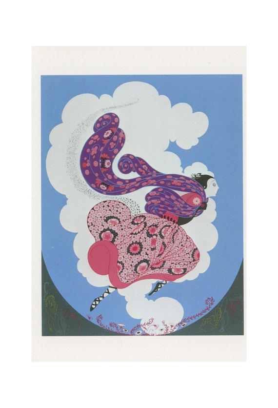 Post Card Asian Woman Running Through The Clouds In A Pink And Purple Flower Dress, Antique Postcard Print, Artist Is Erte