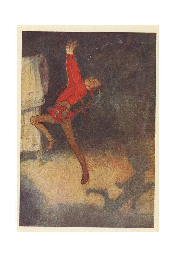1920 Peter Pan, Peter Fights His Shadow, Antique Children Print, Illustrated By Alice B. Woodward, Printed In London, England