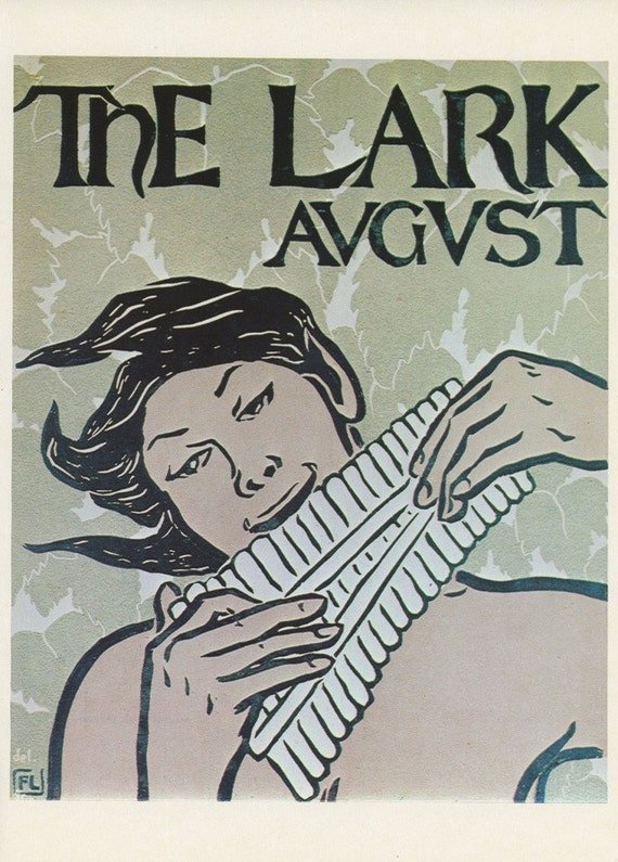 The Lark August Pixie Man Playing A Wood Pipe Flute , American Poster Print, Printed In The United States Of America, Vintage 1976