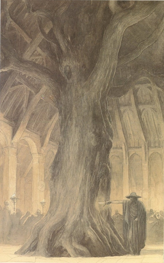 Castle Wizard In King Hall Pulling Sword Out Of Giant Tree And Sleeping Elf With Raven Stone Gate, ,  Alan Lee, Antique Print, Printed In USA, 1984