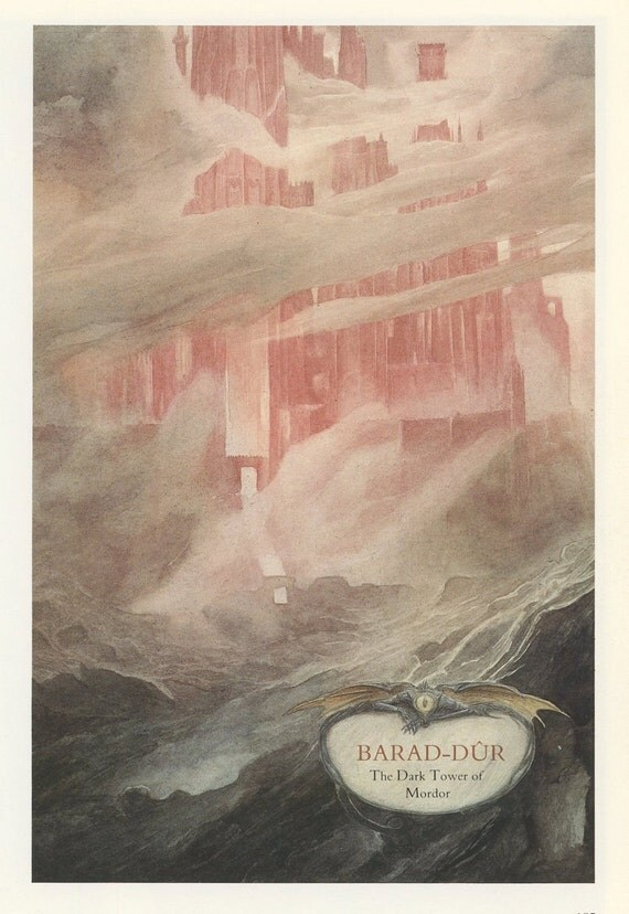 Castle The Dark Tower Of Mordor And Minas Tirith Of Gondor, Alan Lee, Antique Print, Printed In USA, 1984