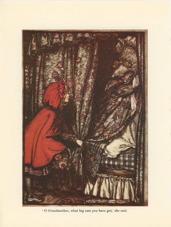 Grimms Fairy Tale, Red Riding Hood Wolf Grandmother Woods, Arthur Rackham, Printed In America, Antique Children Print