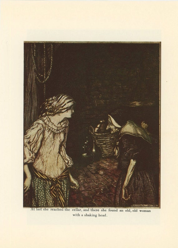 Grimms Fairy Tale, Princess Meets Old Woman And Tom Thumb With Pirates, Arthur Rackham, Printed In America, Antique Children Print