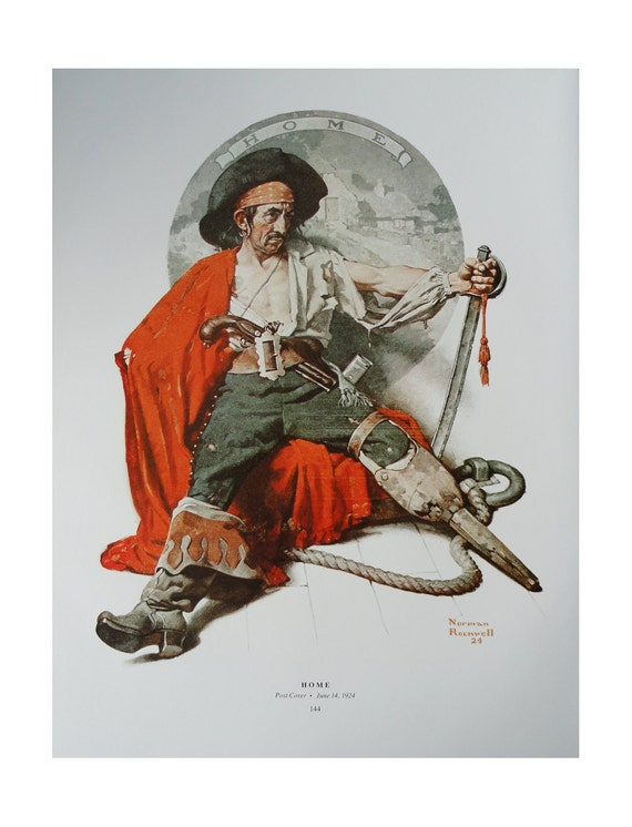 Norman Rockwell Poster, Home And Adventure, Pirate Sword Red Cape Peg Leg, Post Magazine Cover