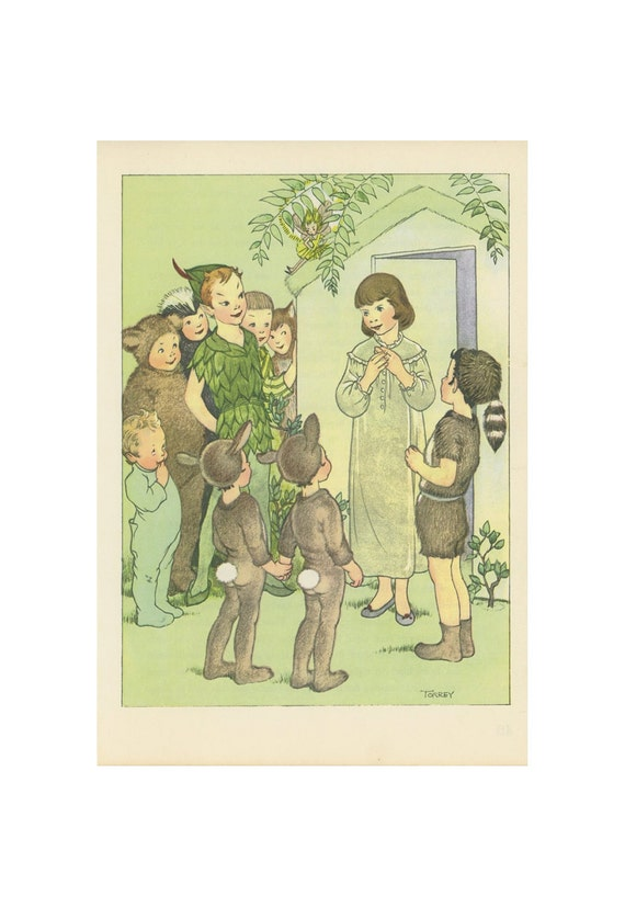 Peter Pan, Wendy Meets The Lost Boys Peter Tinkerbell Hideout, Antique Children Print, Illustrated By Marjorie Torrey, USA