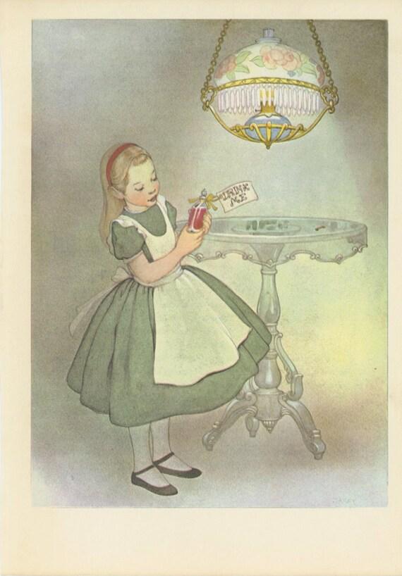 Little Alice, Alice Examines Drink Me Bottle, Alice's Adventures In Wonderland, Lewis Carroll, Marjorie Torrey, USA, Antique Children Print