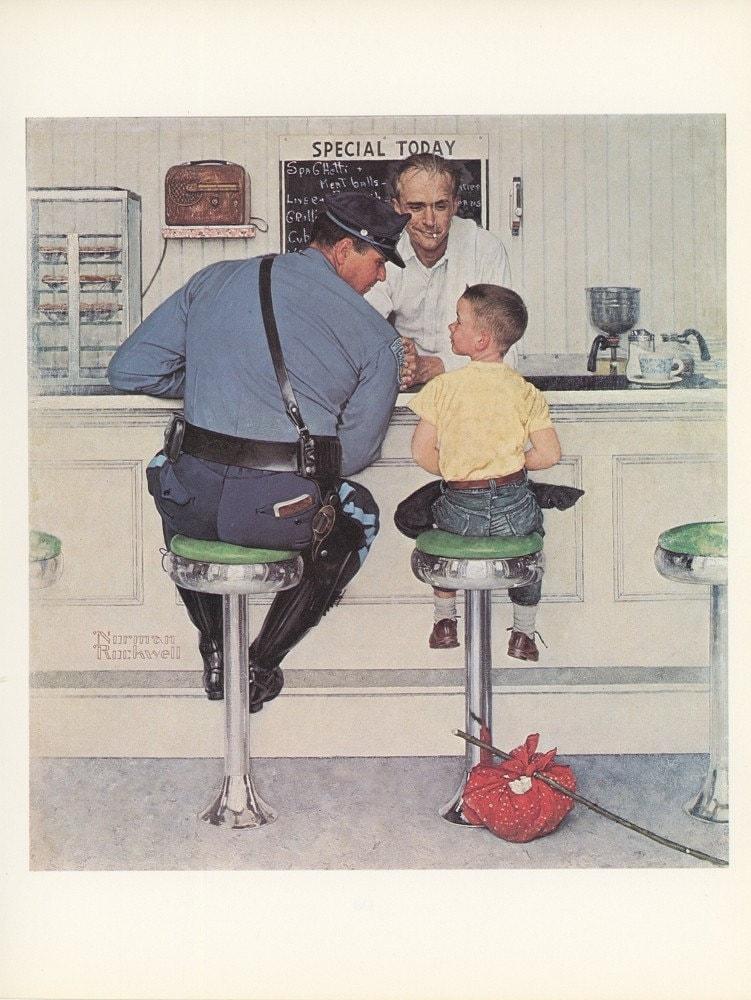 Norman Rockwell The Runaway Cop Boy Soda Fountain By Kingpaper