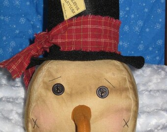Primitive Snowman Head Doll  - Fabric - Centerpiece - Cupboard tuck - Winter - Home Decor