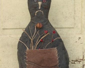 Primitive Grungy Black Barn Cat Doll - Fabric - Stuffed - Folk Art