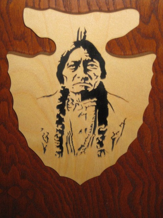 Scroll Saw Fretwork Sitting Bull Arrowhead - Wooden Plaque - Indian Portrait -  Home Decor - Wood Wall Hanging