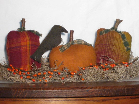 Primitive Pumpkins - Fabric - set of 3 (one with Crow) - Thanksgiving - Centerpiece - Fall - Shelf Sitter