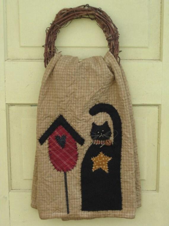 Primitive Tea Towel - Hand Appliqued - Birdhouse & Black Cat - Spring/Summer Decor-Wall / Door Hanging