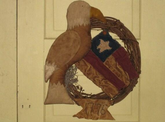 Primitive Americana Eagle with Flag Wreath - Patriotic - July 4th - Door Hanger - Door Greeter