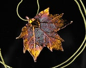 Real Maple Leaf Iridescent Copper necklace with Gold chain