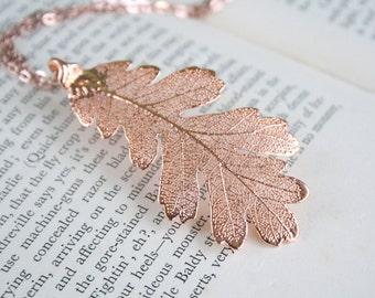 Real Oak leaf rose gold pendant necklace with chain