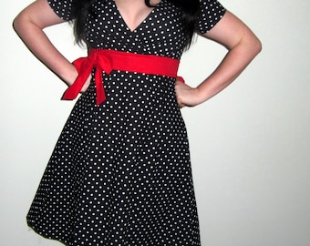 Black and White Polka Dot Rockabilly Dress