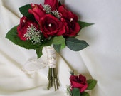 Bridal Bouquet Red silk roses Ready Ship, winter bridal party accessories, destination wedding, bridesmaid bokay boutonniere