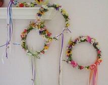 Bridal headpiece Daisy Hair Wreath sunflower colorful Flower Crown made in Michigan wedding accessories costume hairpiece boho halo headband