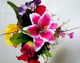 Destination Wedding Flowers Tropical Bridal Bouquet Pink star gazer cruise wedding flowers budget Brides maid bokay bridal party accessories