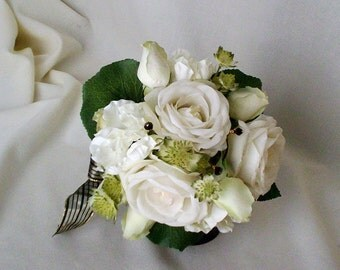 Bridal Bouquet Elegant Cream white Black Ready Ship Destination Wedding Accessories bridal party accessory silk bokay flowers