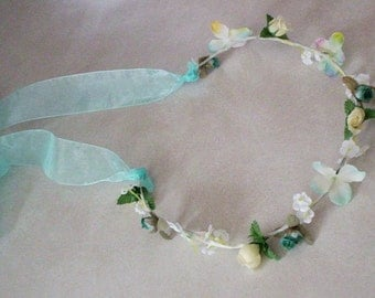 Robin egg blue flower crown bridal hair wreath aqua Boho halo wedding Accessories Floral garland music festival hairpiece