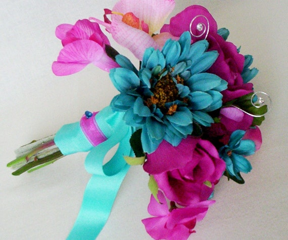 Turquoise Fuchsia Wedding: Turquoise Wedding Flowers Fuschia Silk Bridal Bouquet Package