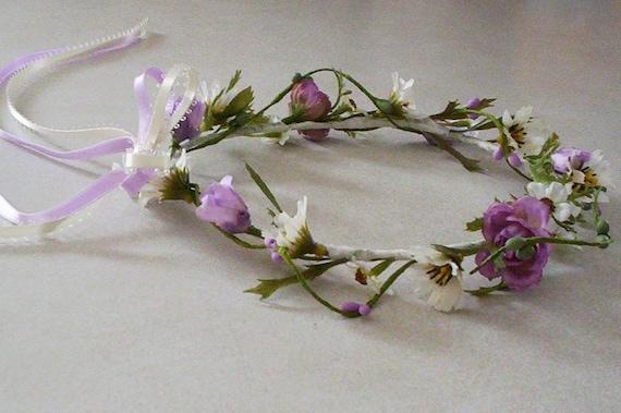 Flower girl Hair Wreaths Flower crown Lavender Daisies bride hair flower Photo Prop Bridal headpiece wedding accessories custom for Yumiko