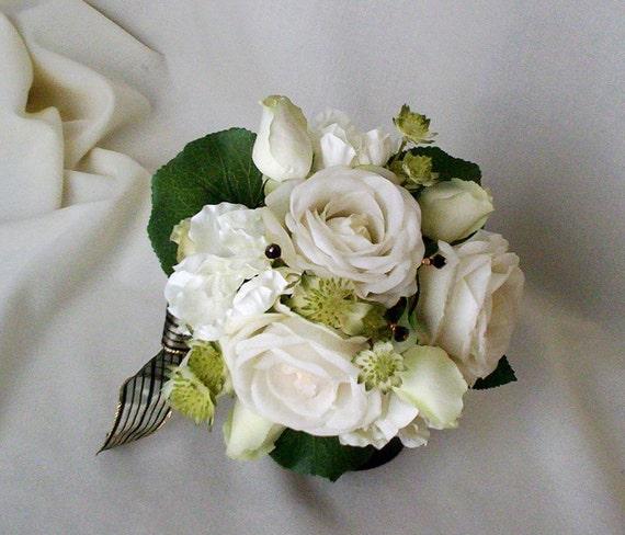 Elegant White Bridal Bouquet : Bridal bouquet elegant cream white black by