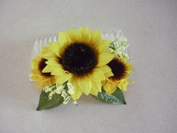 Sunflower Hair Comb Bridal Wedding Accessories Brides Maid