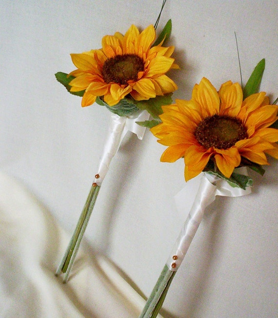 Sunflower Wedding Bouquet Ideas: Items Similar To Wedding Party Accessories Silk Sunflower