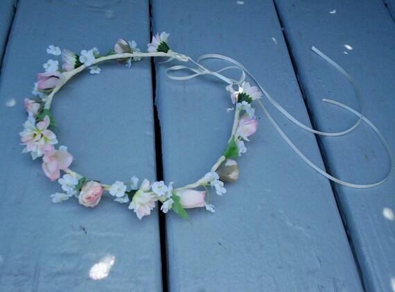 Wedding Flower Girl Halo Pink Hair Accessories Silk Flower Crown Hair