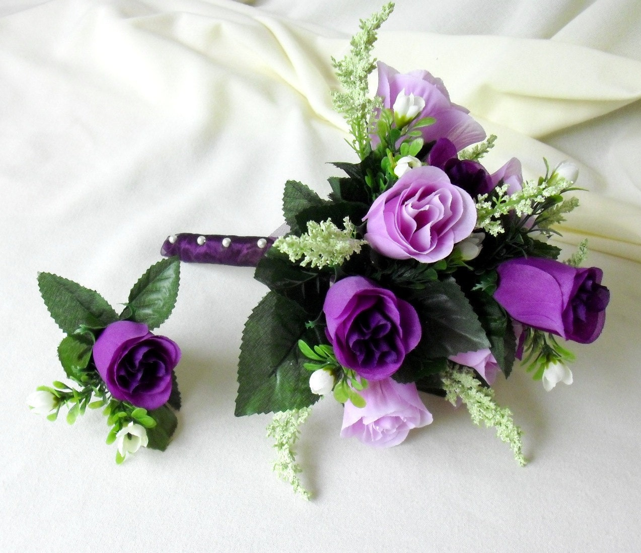 Silk Bridal Bouquet Purple lavender roses wedding flowers