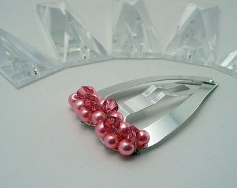 CLEARANCE - Candy Barrette - Bright pink glass pearls, Swarovski crystals, steel heart snap clip for girls or women by reynared