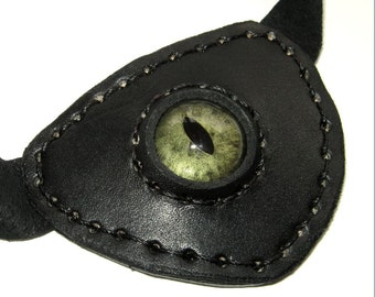 Leather Eye Patch Steampunk Black Eyepatch Green Glass Eye