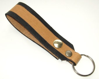 Tan Leather Key Fob Snap Loop for Belt or Pack Black Keychain Wristlet