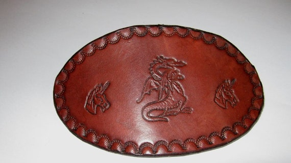 Dragon and Unicorn Oval Leather Hair Barrette Clip