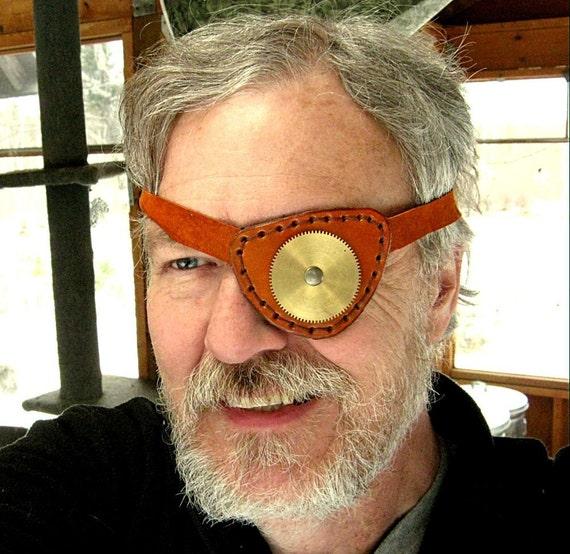Gearhead Leather Eye Patch Steampunk Eyepatch Brass Gear