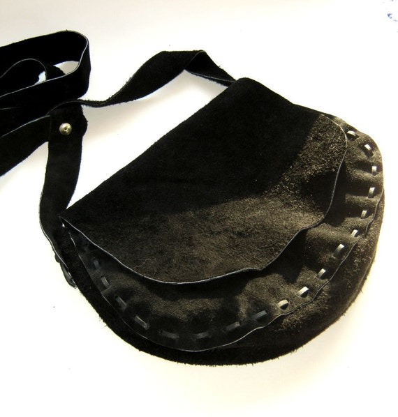 Black Leather Possibles Bag Black Shoulder Bag Hunting Muzzleloading