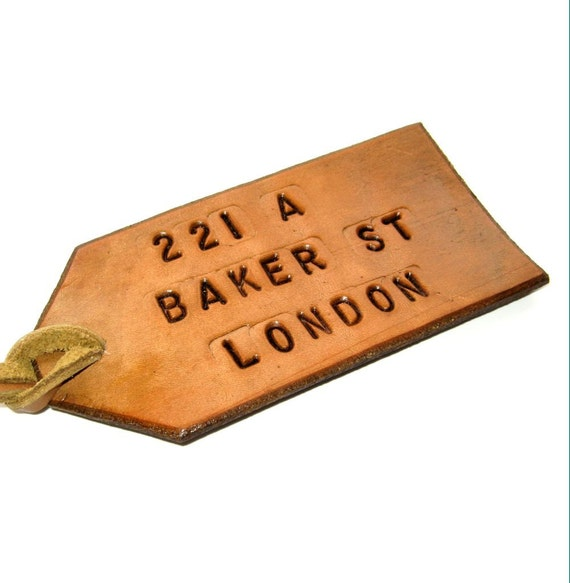 Sherlock's Baker Street Neighbor Luggage Tag Tan Leather Luggage Tag