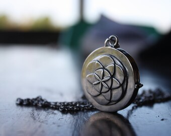 Large Seed of Life Locket Keepsake in Sterling Silver MADE To ORDER Sacred Geometry Flower of Life Stash