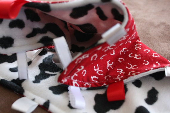HORSESHOE MOO TAGGIE With Cow Print Minky