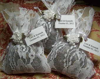 Wedding favors, lavender sachets with white lace