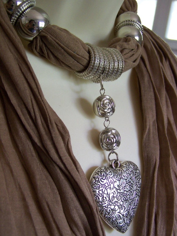 Tan Jewelry Scarf. necklace. scarf necklace.