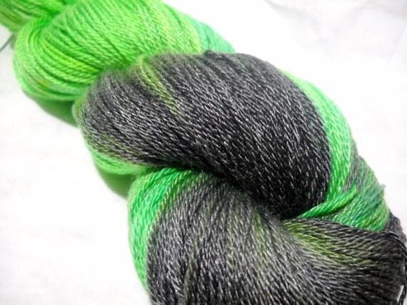 "Hand Dyed Sock Yarn - ""Borg Queen"" Star Trek Inspired Merino Tencel Sock Yarn"