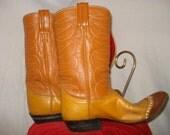 SALE///// Vintage 1970s TONY LAMA Black Label Orange Rust Brown Leather Cowboy Boots Womens Size 9
