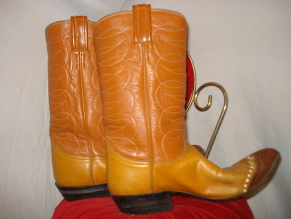 SALE///// Vintage 1970s TONY LAMA Black Label Orange Rust Brown Leather Cowboy Boots Womens Size 9