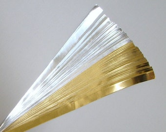 Gold and Silver Foil : Lucky Stars Paper Strips (100)