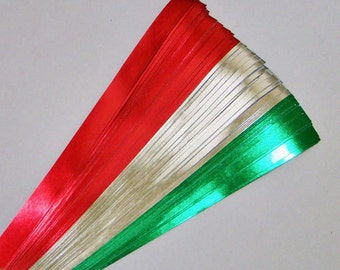 Red, Silver, & Green Foil : Lucky Stars Paper Strips (100)