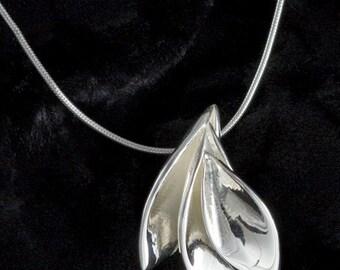 3 Leaf Pendant, -handmade-, Sterling Silver